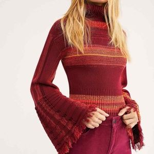 FreePeople Red Stripe Close To Me Pullover Sweater